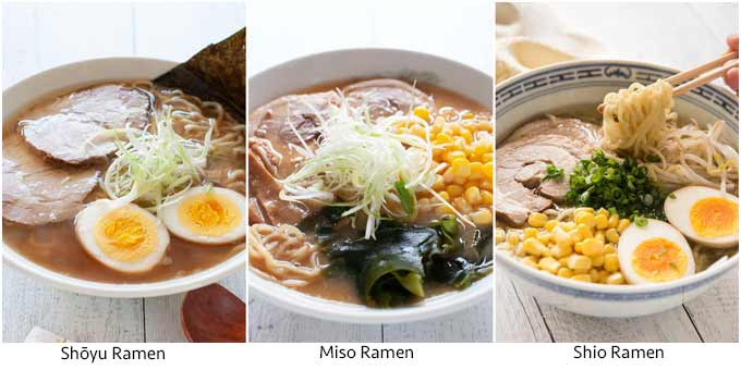 Three ramen with different flavouring.