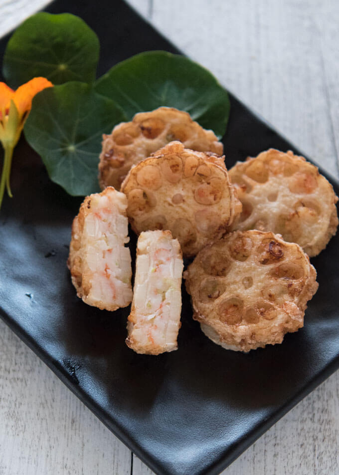 Hero shot of Deep Fried Lotus Root and Prawn Sandwiches.