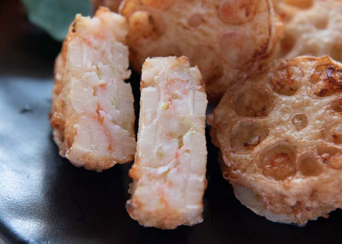 Zoomed-in photo of Deep Fried Lotus Root and Prawn Sandwiches.