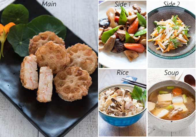 Meal idea with Deep Fried Lotus Root and Prawn Sandwiches.