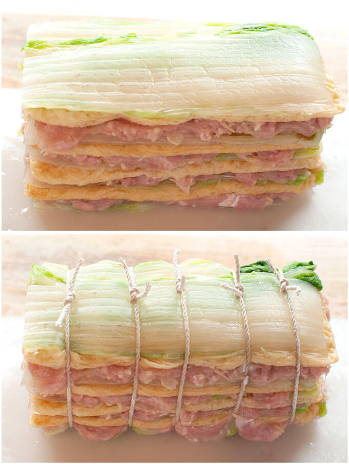 Layered and tied Layered Chicken and Chinese Cabbage (Hakata-style Simmered Cabbage).