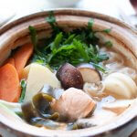 Hero shot of Ishikari Nabe in a donate (clay pot for cooking hot pot).