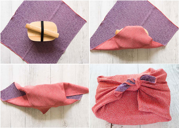 showing how to wrap a bento box with Furoshiki (Traditional Japanese wrapping cloth).