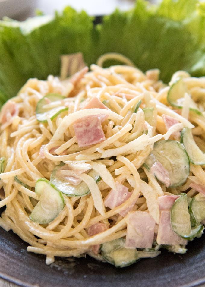 Hero shot of Japanese Pasta Salad (Spaghetti Salad) on a plate.