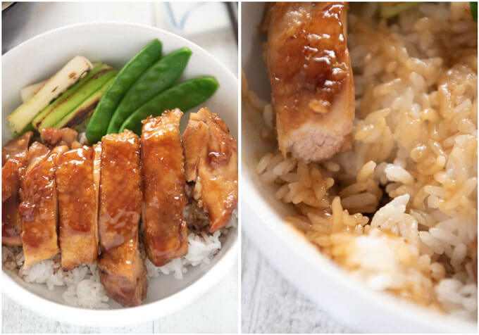 Photo of Teriyaki Chicken don (Teriyaki Chicken on rice in a bowl) and rice flavoured with Teriyaki Sauce.