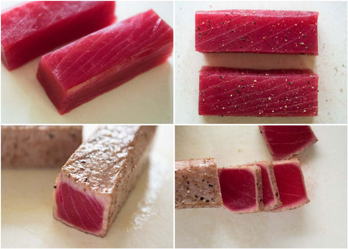 Step-by-step photo of searing two blocs of tuna.