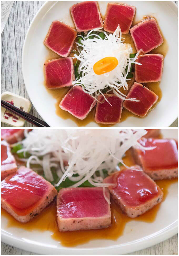 Serving Tuna Tataki with julienned daikon.