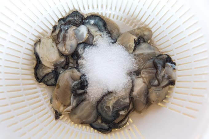 Oysters in a sieve with salt to clean oysters.
