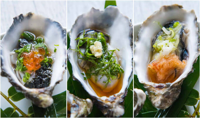 Three different toppings on Oysters with Tosazu Dressing.