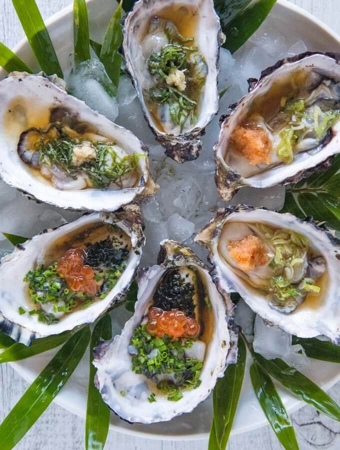 Oysters with Tosazu Dressing 3 Ways