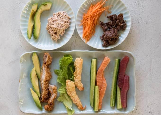 Sushi rolls ingredients.