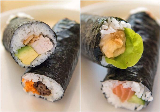 Zoomed in photos of sushi rolls - chicken cutlet & avocado, teriyaki beef & carrot, tempura prawn & green leaf, raw salmon & cucumber.