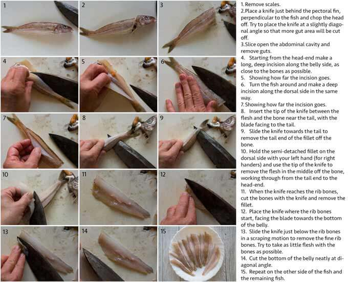 Step-by-step photo of filleting whiting.