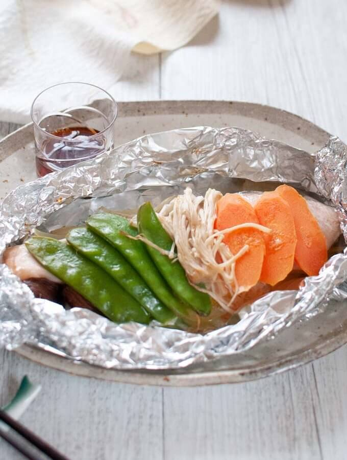 Baked Salmon in Foil with Ponzu Dressing