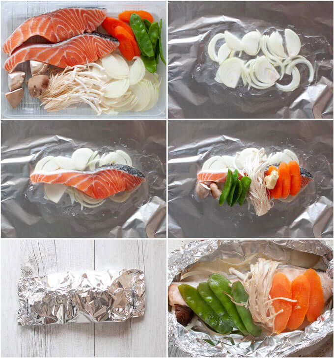 Step-by-step photo of placing ingredients in a foil bag.
