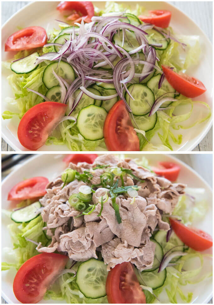 Salad on a plate before & after placing pork slices.
