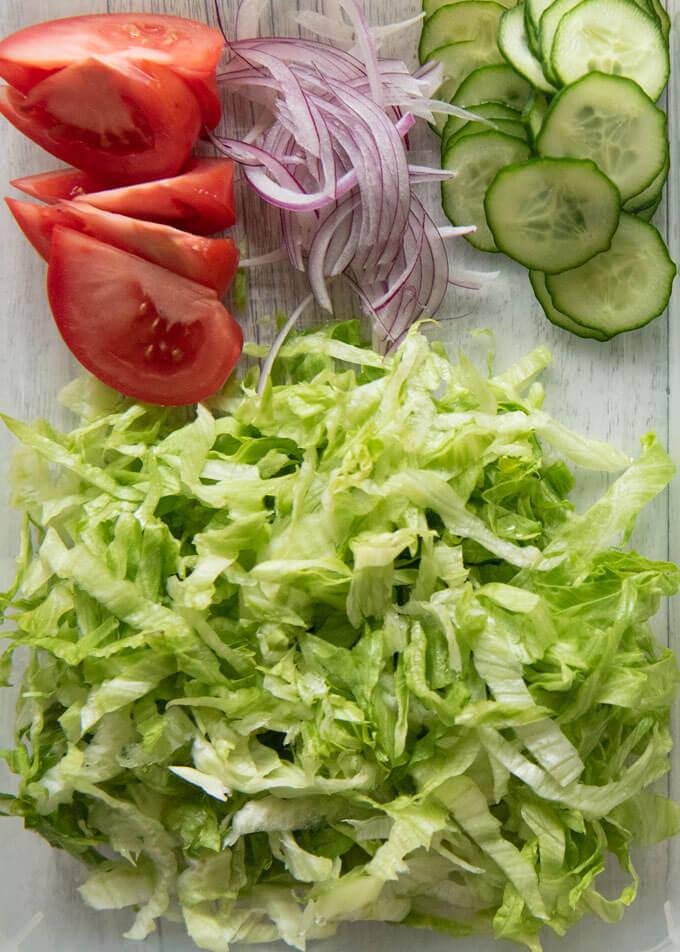 Salad ingredients.
