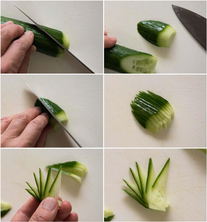 Step-by-step photo of how to make decorative sliced cucumber.