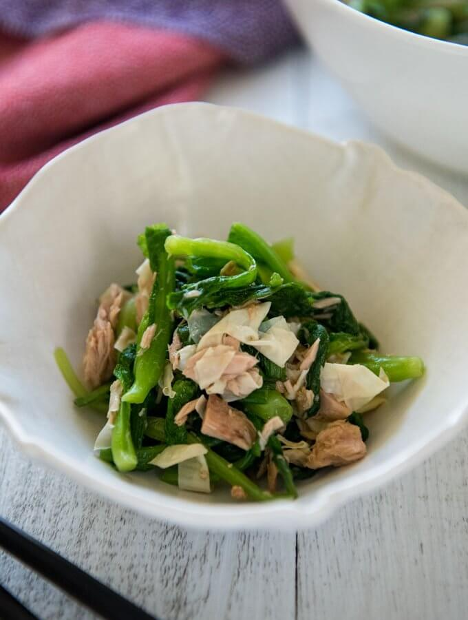 Hero shot of Baby Mustard Greens and Tuna Salad.