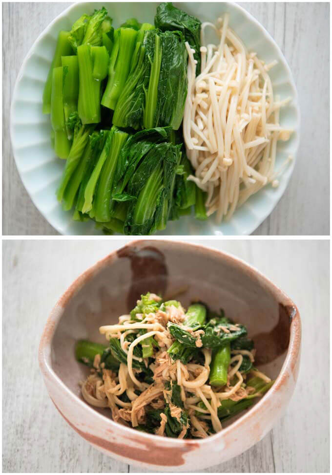 Baby mustard greens and tuna salad with enoki mushrooms.