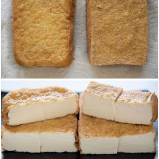Home-made Atsuage comparison between silken tofu and women tofu.