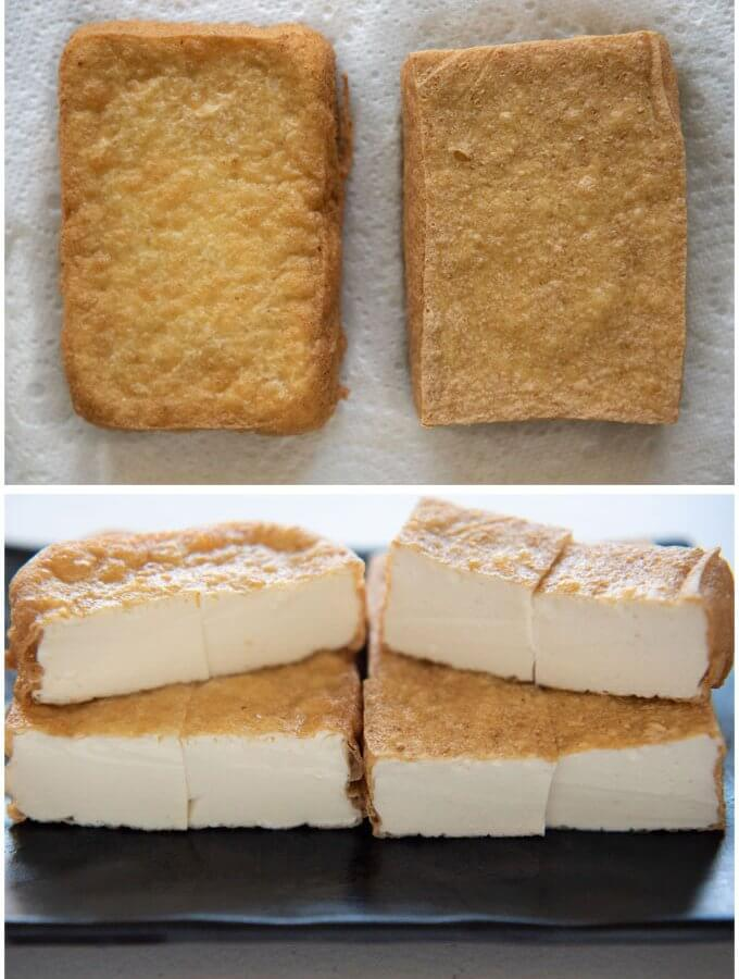 Home-made Atsuage comparison between silken tofu and women tofu.
