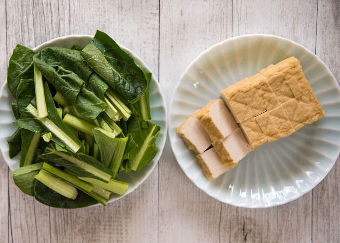 Ingredients of Stir-fried Choy Sum with Deep Fried thick Tofu.