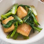 Hero shot of Stir-fried Choy Sum with Deep Fried thick Tofu.