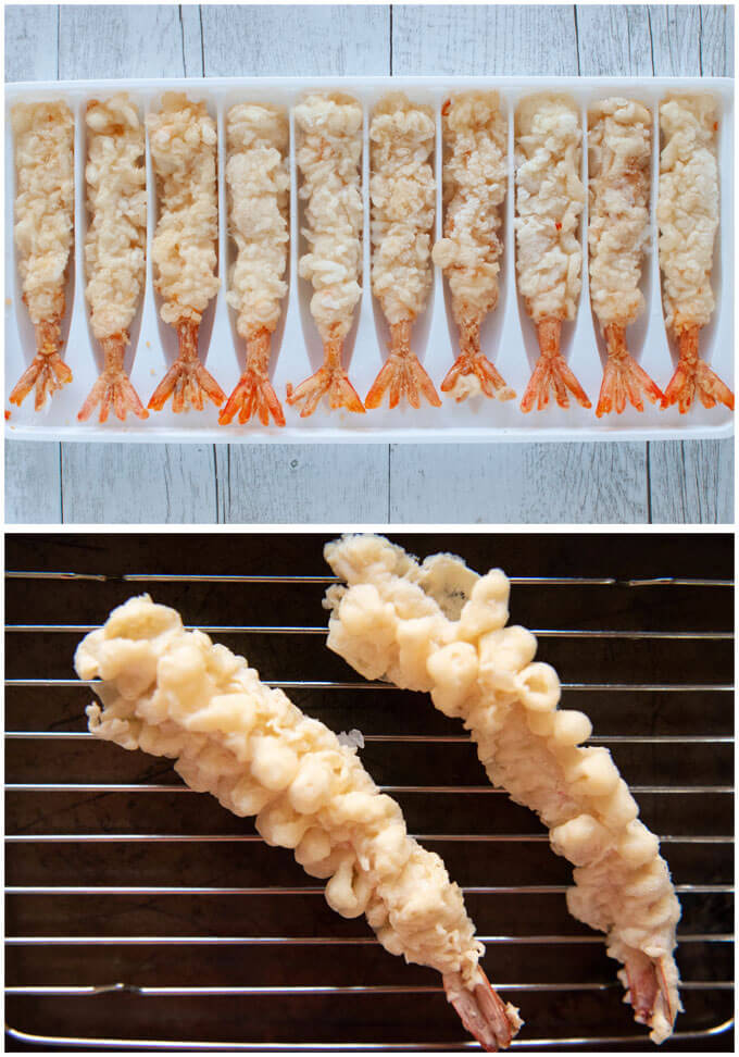 Frozen prawn tempura.