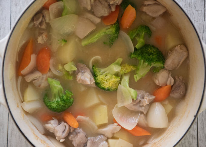 Just added broccoli florets to the cooked vegetables in broth.