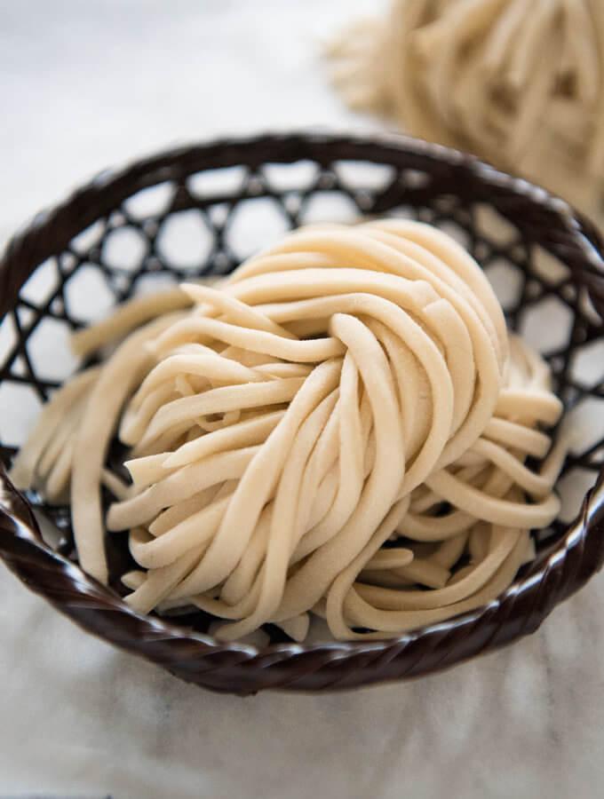 Freshly made udon noodles.