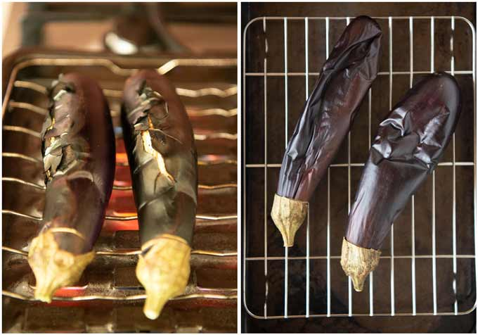 Comparison between grilled eggplants over a stove and under a broiler.