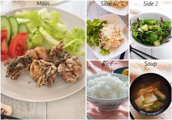 Dinner idea with Fried Marinated Mackerel (Mackerel Tatsuta Age).