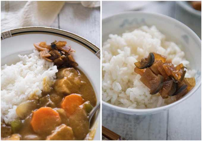 Examples of what goes well with Fukujinzuke.