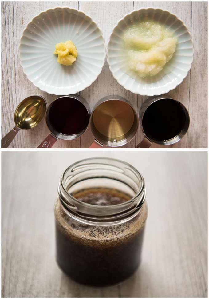 Japanese Garlic Steak Sauce - ingredients and the sauce in a jar.