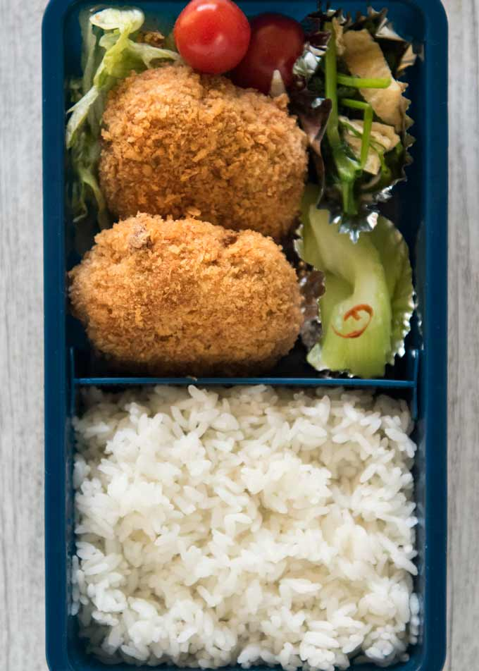 Top down photo of theBeef & Pork Patty Bento box.