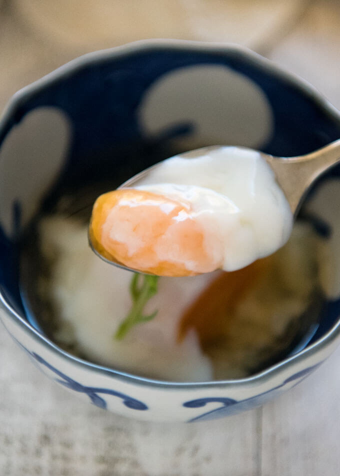 A scoop of egg yolk and white of onsen tamago.