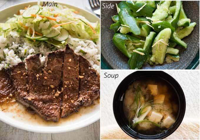 Meal idea with Steak with Japanese Garlic Steak sauce.