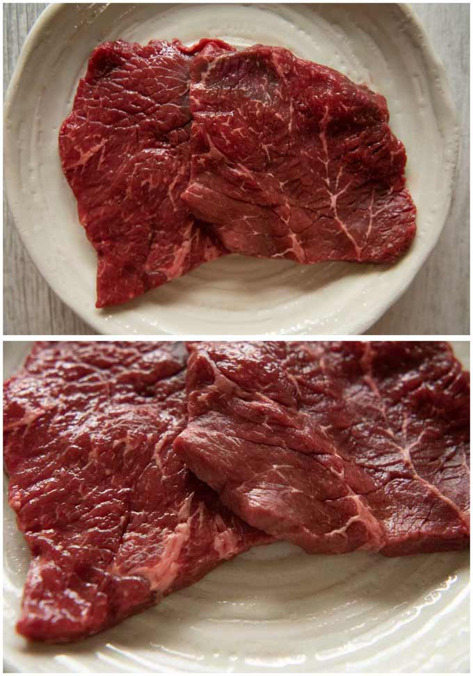 Thinly sliced beef steaks.