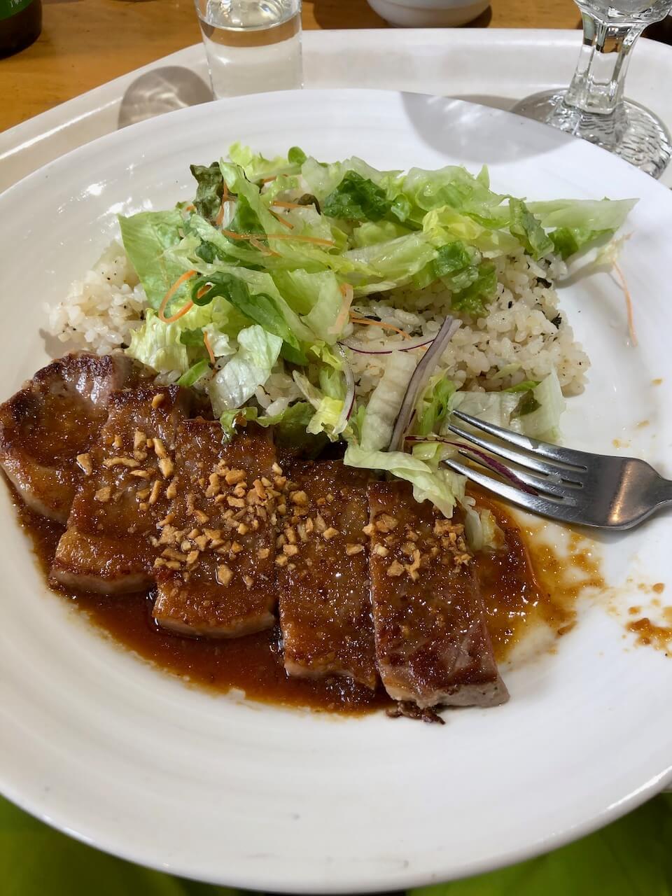 Garlic Steak served at Yamabiko Rest House in Nozawa Onsen Ski Resort.