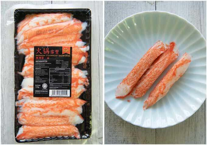 Showing a pack of Kanikama - imitation crab meat sticks that are made of fish cake and few crab sticks.