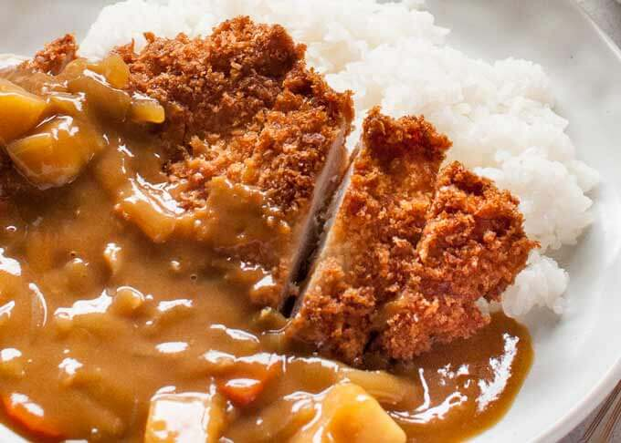Zoomed-in photo of Katsu Curry.