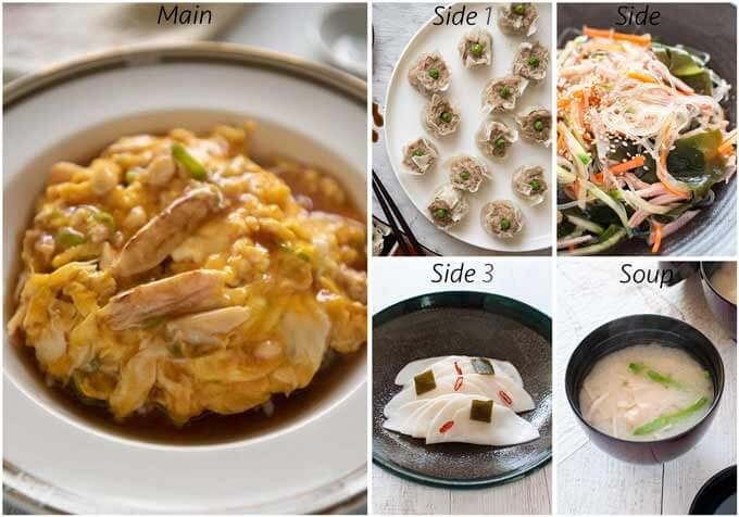 Menu idea with Crab Omelette on Rice (Tenshinhan).