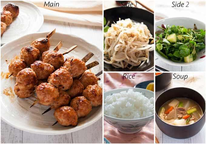 Dinner idea with Tusukune (Japanese Chicken Meatballs).