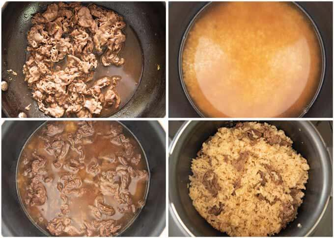 Step-by-step photo of cooking Beef Takikomi Gohan.