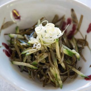 Hero shot of Konbu Seaweed and Cucumber Salad in a bowl.