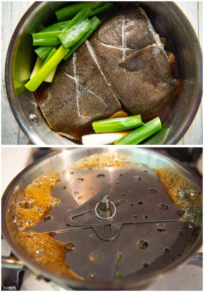 The flounder and other ingredients placed in a shallow saucepan + founder being cooked with a drop lid on.