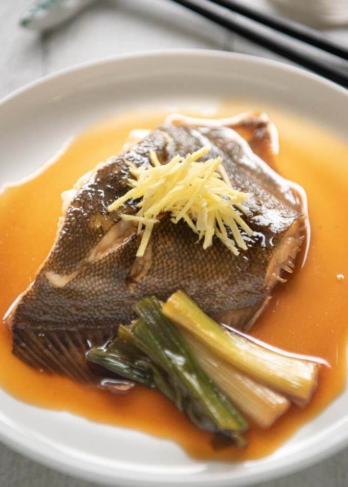 Hero shot of Simmered Flounder on a plate.