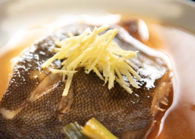 Simmered Flounder zooming to show 'harishōga' (finely julienned ginger).