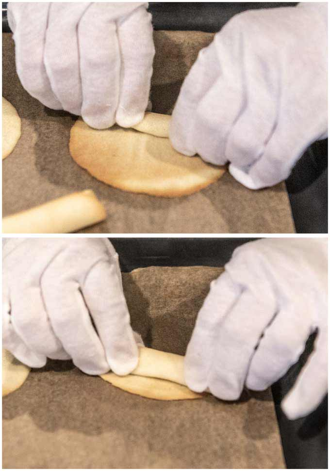 Showing how to roll a cookie to make a Cigarette Butter Cookie.